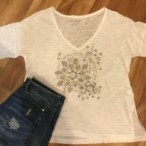 Lucky Brand Embellished Burnout Tee